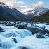 Flowing Water with Mountains