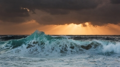 Panoramic seascape with wave