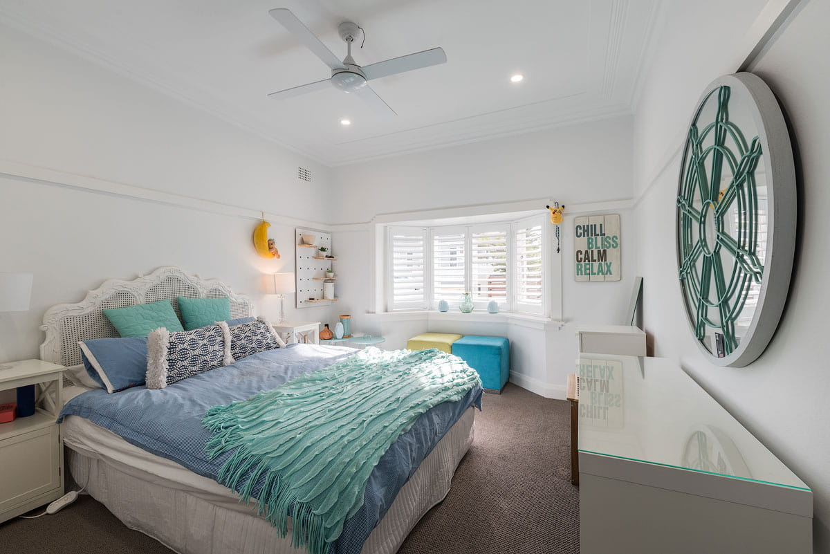 Beautiful cyan bedroom