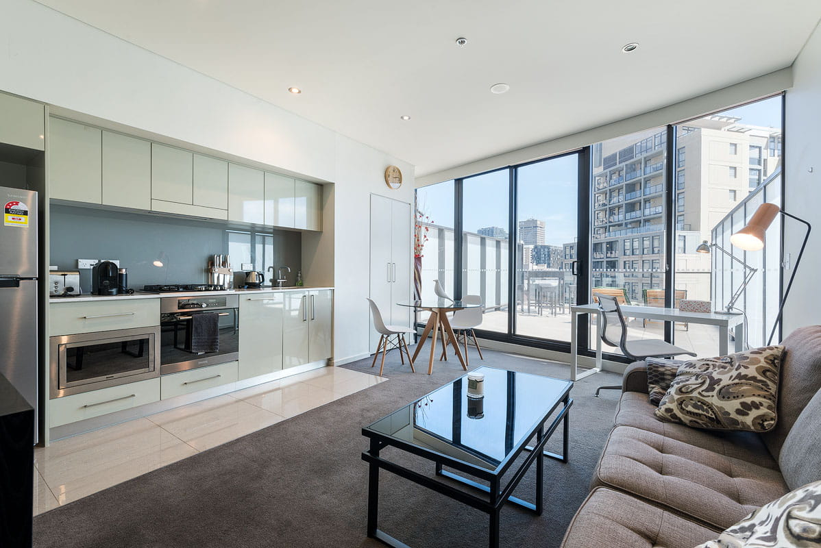 Living room with modern city view