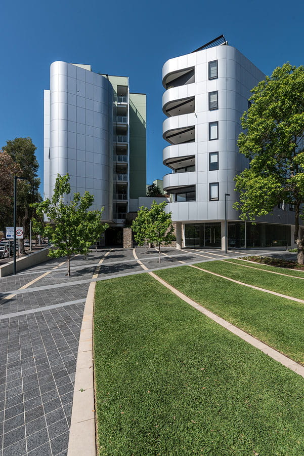 Modern buildings exterior with grass