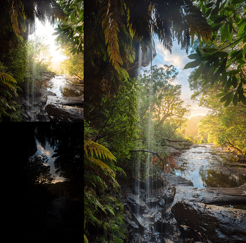 waterfall before after post processing