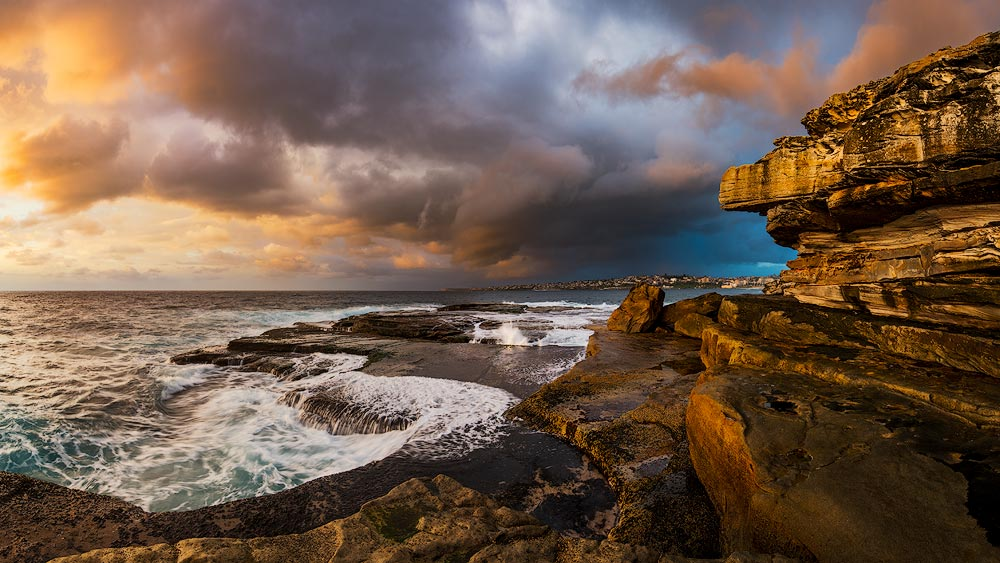 Clovelly Beach sunrise in panoramic format overlooking Coogee