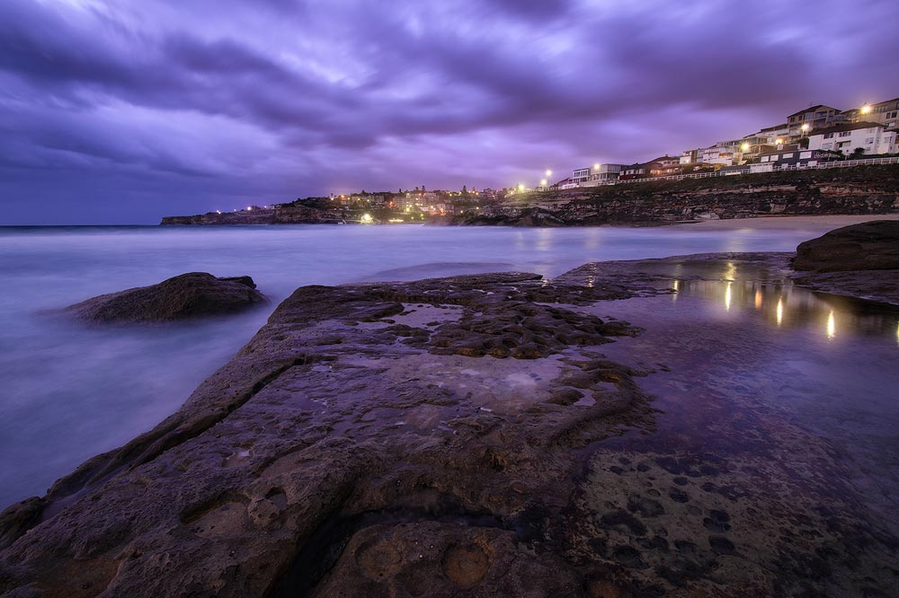 Tamarama rock platform sunrise overlooking Tamarama and Bronte