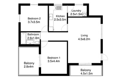 two bedrom apartment floor plan black and white