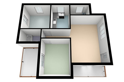 two bedroom apartment floor plan color 3d