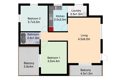 two bedroom apartment floor plan color
