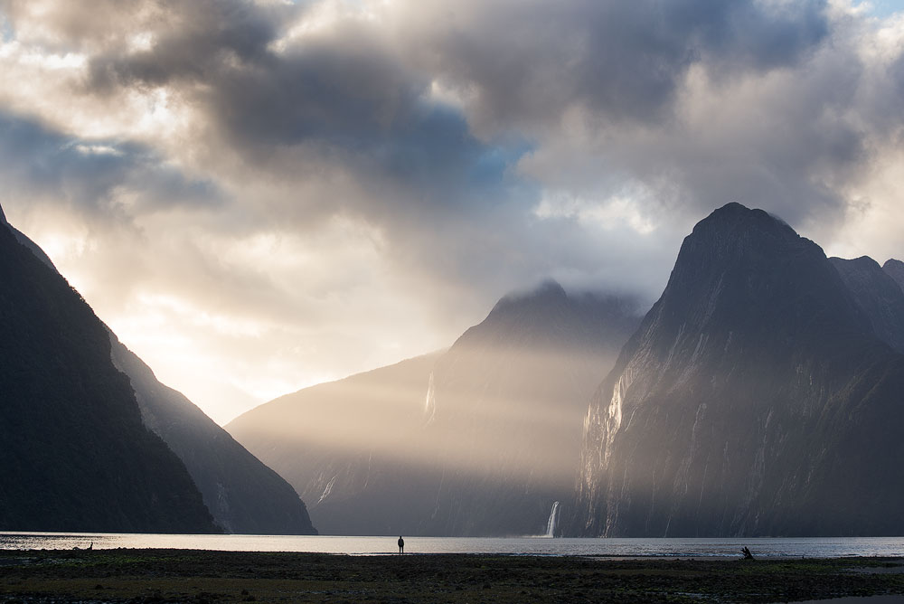 milford sound and human
