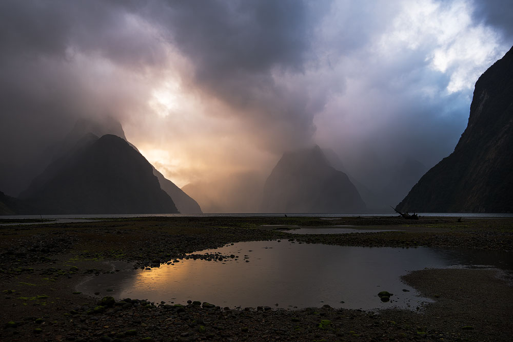 milford sound dramatic sunset