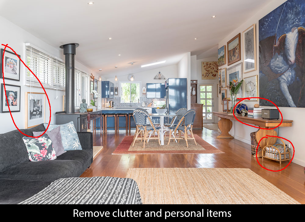 living room with clutter