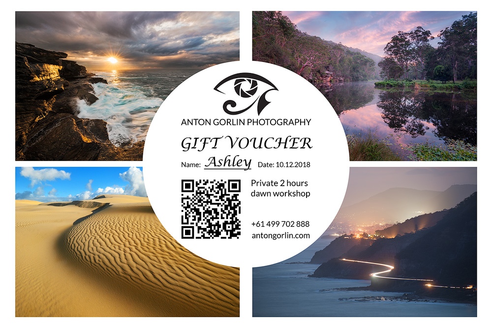 photography gift voucher sunrise